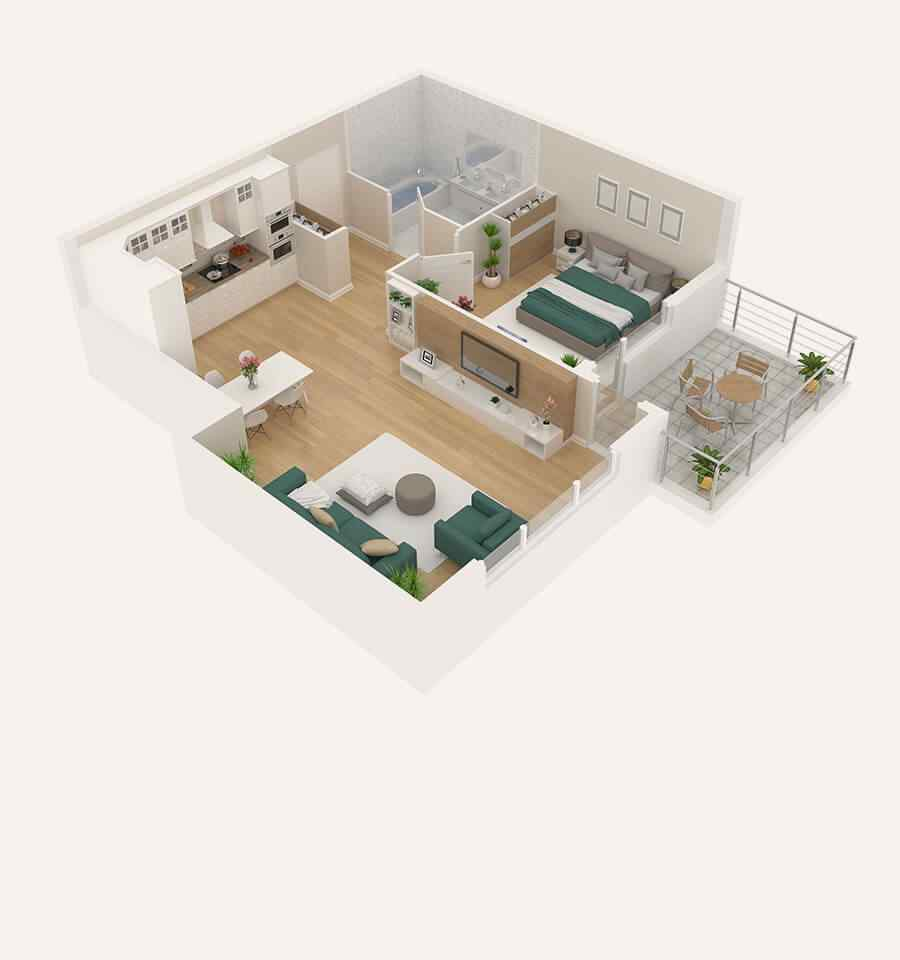 Two 1/2 Bedroom
